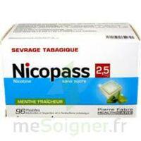 Nicopass 2,5 mg Pastille menthe fraîcheur sans sucre Plq/96 à FLEURANCE