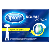 Optone Monodose Double Action Solution Oculaire Yeux Irrités B/10 à FLEURANCE